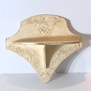 🎉HostPick🎉Ivory and Gold Wood Shelf, Wall Decor
